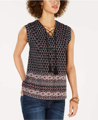 Style&Co. Style & Co Printed Lace-Up Top, Created for Macy's