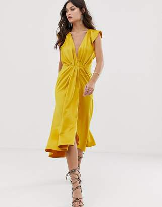 Asos Design DESIGN knot front plunge midi dress with ruffle sleeve and open  back a9c671f79
