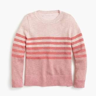 J.Crew Girls' Lurex® crewneck sweater in stripes