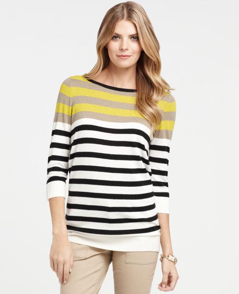 Multicolored Stripe Button 3/4 Sleeve Tunic