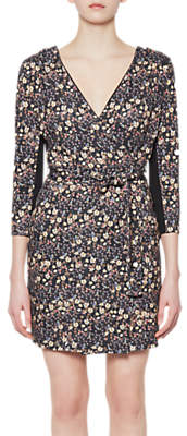 French Connection Hallie Print Jersey Wrap Dress, Black/Multi