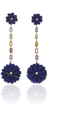 Lapis Brent Neale Flower and Rainbow Drop Earrings
