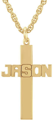 Silver Cross FINE JEWELRY Personalized 14K Gold Over Sterling Pendant Necklace