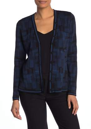 Anne Klein Jacquard Knit Front Button Cardigan