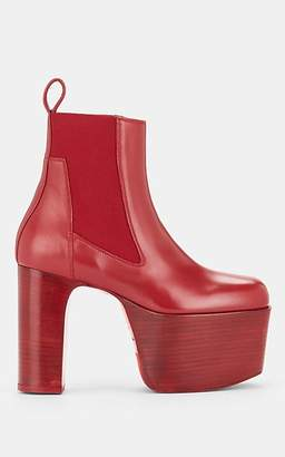 Rick Owens Women's Elastic Kiss Leather Platform Ankle Boots - Red