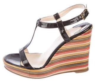 Christian Louboutin Patent Leather Ankle Strap Wedges