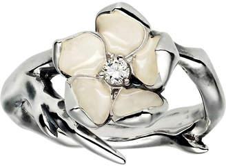 Shaun Leane Cherry Blossom silver, ivory enamel and diamond ring