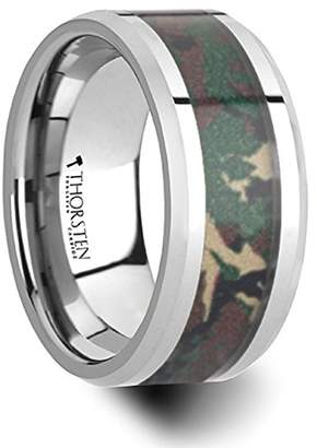 Commando Thorsten Jewelry Tungsten Wedding Ring with Military Style Jungle Camouflage Inlay - 10 mm