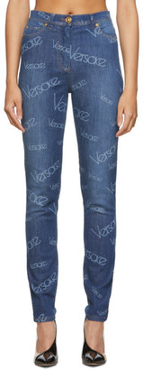 Versace Blue Logo Stamp Jeans