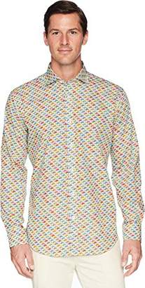 Bugatchi Men's Fitted Printed Grand Prix Motif Spread Collar Shirt