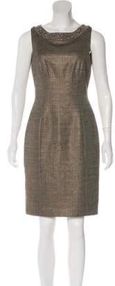 Carmen Marc Valvo Metallic Sheath Dress