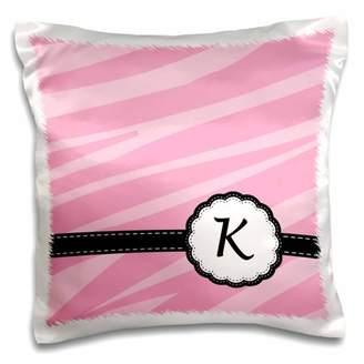 3drose 3dRose Monogram Letter K pink zebra print chic girly art - Pillow Case, 16 by 16-inch