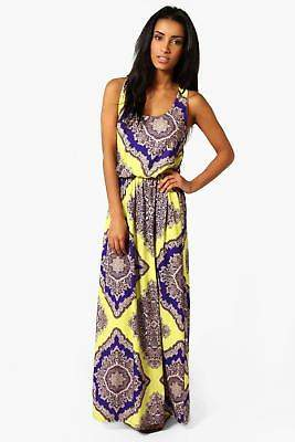 boohoo NEW Womens Neon Paisley Racer Back Maxi Dress in Polyester