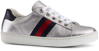 Gucci New Ace Metallic Leather Web Sneakers, Toddler/Youth Sizes 10T-2Y