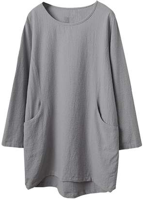 Minibee Women's Cotton Linen Solid Color Tunic/Top Tees
