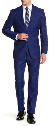English Laundry Blue Paisley-Check Two Button Peak Lapel Trim Fit Suit $395 thestylecure.com