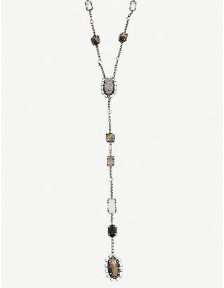 Kendra Scott Liesl antique silver-plated, crystal, glass, pyrite and granite necklace