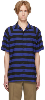 Lanvin Black and Blue Striped Bowling Shirt