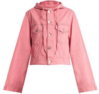 Ganni Hooded Denim Jacket - Womens - Pink