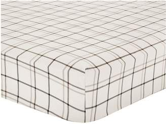 Very Brushed Cotton Check Fitted Sheet - Grey