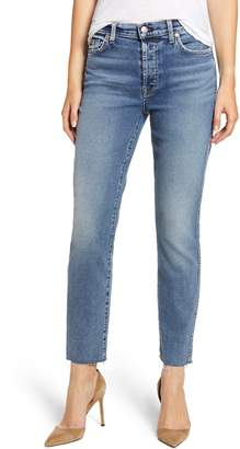 7 For All Mankind Luxe Vintage Edie Cutoff Hem Straight Leg Jeans