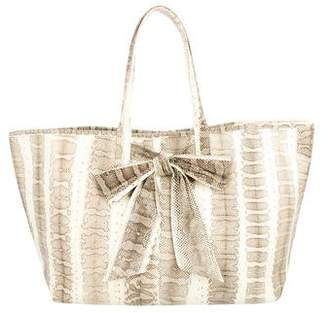 Pre Owned At Therealreal Beirn Snakeskin Bow Tote
