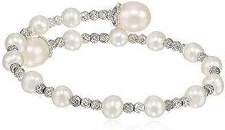 Bella Pearl Sterling Silver Wrap-Bangle Bracelet