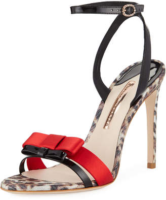 Sophia Webster Andie Patent Double Bow Ankle-Strap Sandals