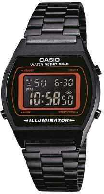 Casio Collection Retro Unisex Quartz Watch with Dial Chronograph Display and Black stainless Steel Strap B640WB-4BEF