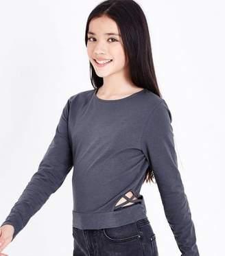 New Look Teens Dark Grey Lattice Side Top