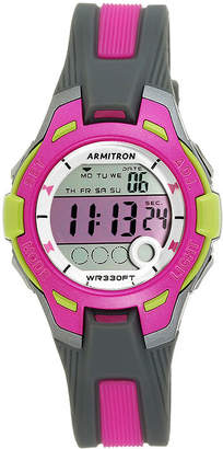 Armitron Womens Pro Sport Gray and Pink Digital Strap Watch