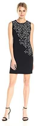Calvin Klein Women's Sleeveless Laser Cut Flower Detail Sheath Dress
