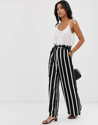 Pieces Stripe Wide Leg Paper Bag Pants