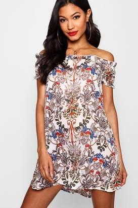boohoo Floral Print Off The Shoulder Dress