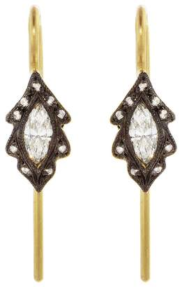 Cathy Waterman Diamond Marquise Leaf Earrings - Yellow Gold