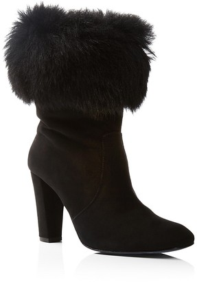 Delman Lexie Suede and Shearling Cuff High Heel Booties $498 thestylecure.com