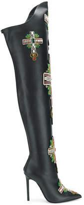 Versace embellished knee boots