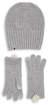 UGG 2-Piece Rib-Knit Hat and Faux Fur Pom Gloves Set