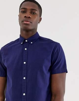 a84154129 Jack and Jones Essentials short sleeve linen mix shirt in blue