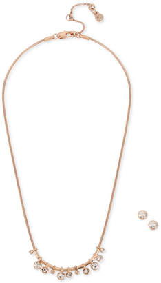 Kenneth Cole New York Rose Gold-Tone Crystal Collar Necklace & Stud Earrings Set