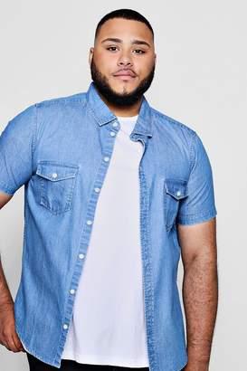 boohoo Big And Tall Short Sleeve Denim Shirt