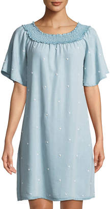 Neiman Marcus Pearlescent Chambray Shift Dress