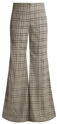 Zimmermann Rife Checked Kick Flare Wool Trousers - Womens - Grey