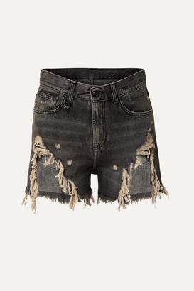 R 13 Distressed Denim Shorts - Gray