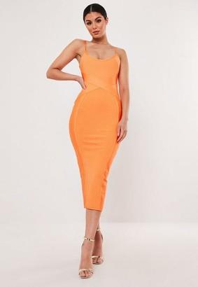 Missguided Premium Orange Bandage Cross Front Cami Midaxi Dress, Orange