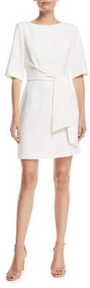 Virgil Tie-Waist Cape-Sleeve Dress