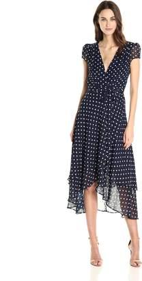 Betsey Johnson Women's Chiffon Dot Wrap Dress, Navy White