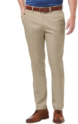 Haggar Mens Premium No-Iron Khaki Flex Waist Slim-Fit Stretch Flat-Front Pants