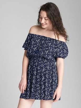 Gap Off-Shoulder Short Sleeve Floral Print Dress
