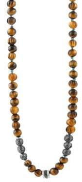 Tateossian Formentera Sterling Silver& Tiger's Eye Beaded Necklace